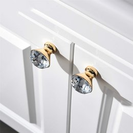 Crystal Pull Cabinet Handles Australia - 24K Real Gold Czech Crystal Zinc Alloy Round Cabinet Door Knobs and Handles Furnitures Cupboard Wardrobe Drawer Pull Handles