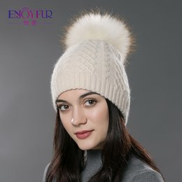 Adult Beanies Hats Australia - Enjoyfur Casual Winter Fur Pompom Hat For Women Cashmere Wool Cotton Hat Beanies Big Real Raccoon Fur Pompom Beanies Cap Fox Fur Bobble Hat