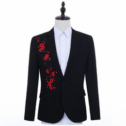 Punk Style Suit NZ - embroidery blazer men suits designs jacket mens stage costumes singers clothes dance star style dress punk rock masculino homme