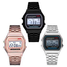 Men Digital Wrist Watches NZ - F-91W LED Electronic Watch Sports Stainless Steel Belt Thin Alarm Clock Watches f 91w Men Women Students Date Digital Watch Wrist hot A21604