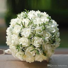 White Rose Hand Bouquet Wedding Australia - Artificial Vintage Wedding Bouquets For Bride Silk Hand Holding Flowers Handmade Wedding Bridal Bouquet Accessories White Rose CPA1541