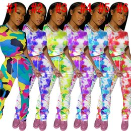 set tie dye color Canada - Women Tracksuit Camo Tie Dye Color Crop T-shirt Tops + Pleated Pants Leggings Two Piece Outfits Fashion Ladies Clothing Sets Casual D8408