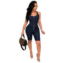 $enCountryForm.capitalKeyWord Australia - Denim Jeans Jumpsuit Women Romper Denim Overalls Shorts O Neck Sleeveless Short Playsuit Vintage Buttons Pockets Skinny Overall