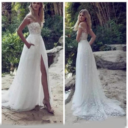 $enCountryForm.capitalKeyWord Australia - Sexy White A-Line Wedding Dresses Lace Appliques Off-Shoulder Zipper Bridal Gowns Formal Vestidos De Marriage Vintage Garden Robe De Mariee