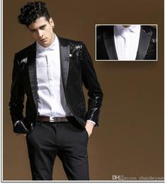 $enCountryForm.capitalKeyWord Australia - 2018 New Design Black Sequined Wedding Tuxedos Slim Fit Cheap Groomsmen Suit Custom Made Mens Prom Party Suit Performance Suits(Jacket+Pant)