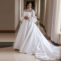$enCountryForm.capitalKeyWord Australia - Graceful Plus Size Satin A-Line Wedding Dresses High Collar Flare Sleeve Big Bow Tie Africa Wedding Gown Beaded Princess Bridal Gowns