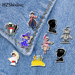 wizard figure Australia - 2019 New Mary Poppins Acrylic Lapel Pin The Wizard Of Oz Butterfly Brooch Art Red Shoe Silver Epoxy Pin