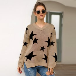 $enCountryForm.capitalKeyWord Australia - Designer Sweaters for Womens Brand Solid Color with Star Pattern Printing Women Luxury Sexy V Neck Sweaters High Quality Clothing