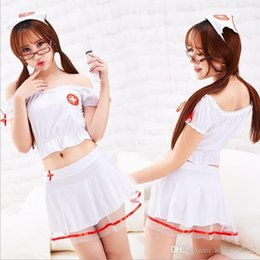 Wholesale 2019 Popular style European and American sexy lingerie women s foreign trade gauze separate nurse clothes large uniform seductive role