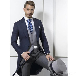$enCountryForm.capitalKeyWord Australia - 2019 Custom Made Classic Design Navy Blue Tailcoat Groom Tuxedos Men's Wedding suit Prom Clothing Men Suits (Jacket+Pants+Vest)
