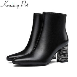 e6e778437ff Krazing Pot 2019 square toe cow leather wedding strange style elegant brand ankle  boots dating office lady winter shoes L8f1