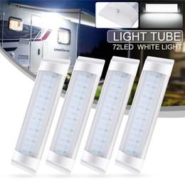 $enCountryForm.capitalKeyWord Australia - 4Pcs led Car interior Light Tube 72LED Light Bar Lamp 24V White Strip Tube Light Switch for Caravan Trailer RV Parts