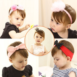 Discount kind beads - Children hair ACTS new girl baby bowknot hair band fashionable lovely baby dot flower bouncy headdress 10 kinds of style