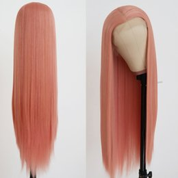 Cheap Middle Part Lace Wig Australia - Cheap Free Shipping Pink Long Straight Wig Glueless Synthetic Lace Front Wigs with Baby Hair Middle Part Cosplay Party Soft Wigs for Women