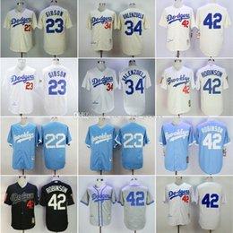 Ingrosso DODGERS economici 22 # KERSHAW / 23 # GIBSON / 34 # VALENZUELA / 42 # Robinso Crema / Bianco Grigio Luce pullover di baseball blu camicia nera cucita superiore
