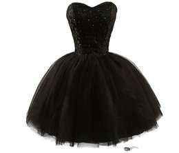 Cheap Red Lace Sweetheart Dress Australia - Sweetheart Litter Black Prom Dresses New 2019 Top Lace Applique Sequins Beads Strapless Mini Homecoming Dress Sexy Cocktail Party Wear Cheap
