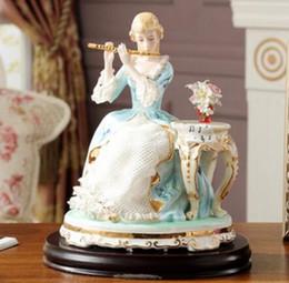 $enCountryForm.capitalKeyWord Australia - Lace porcelain couple porcelain figure decoration western beauty flute beauty sitting art diamond painting home decoration