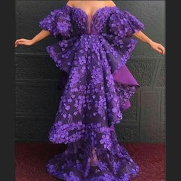vestidos gala lace plus Australia - 2020 Purple Dubai Arabic Prom Dresses Half Sleeves Appliques Lace Off Shoulder Evening Gowns Tiered A Line Ruffles vestidos de gala