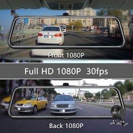 Venta al por mayor de OLESED T95S 10 pulgadas IPS de la pantalla del coche DVR de la cámara Espejo Dash Dash Cam doble lente de la cámara del coche Full HD registrador de la impulsión Corriente del Espejo retrovisor