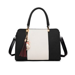 designer handbags women UK - Women Handbag Luxury Bags Patchwork Women Solid Chains Rivet Bag Leather Designer Shoulder Tassel And Cat Pendant Ss7042