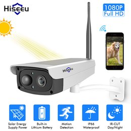 Wide View Security Cameras Australia - Hiseeu video surveillance camera Solar panel Rechargeable Battery 1080P Full HD Outdoor Indoor Security WiFi IP Camera Wide View