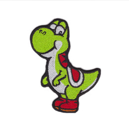 $enCountryForm.capitalKeyWord Australia - Computer Embroidered DINOSAUR YOSHI CARTOON Video Comics Iron & Sew On Patch Cloth Lace Motifs