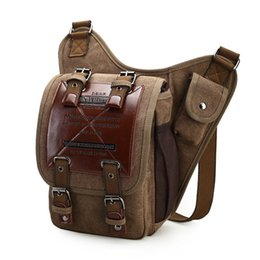 $enCountryForm.capitalKeyWord NZ - Beraghini Brand Leather Decoration Vintage Men Over The Shoulder Bags Male Small Sling Messenger Bag Canvas Military Saddle Bag Y19051802