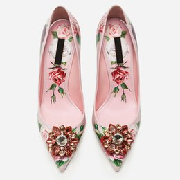 Pattern Decor Australia - 2019 Spring Brand Women Pumps Pointed Toe Woman Stiletto High Thin Heels Flower Pattern Party Runway Star Shoes Woman Crystal Decor