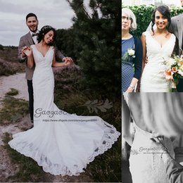 $enCountryForm.capitalKeyWord NZ - vintage lace backless Mermaid Wedding Dresses cape sleeve V neck turkey trumpet Plus Size Country Bridal Gown