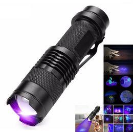 Uv led flashlight 365nm online shopping - good price UV flashlight Mini CREE Q5 xml LED Torch nm nm blacklight Violet Light UV lighting Flash Light Aluminum torch Lamp