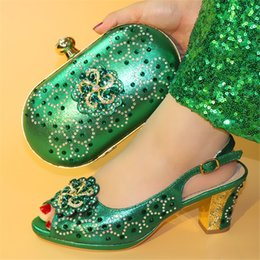 Green Italian Shoes NZ - New Arrival Green African Shoes And Bag Set For Party High Quality Italian High Heel Shoes And Bags To Match Women height 7cm