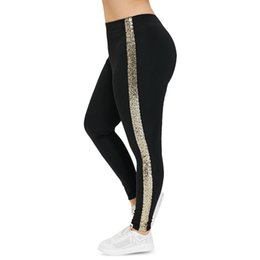 ef827cdda6000 Plus Size High Waist Pant Leggings Women Side Stripe Sequin Pants Black  Skinny Elastic Fitness Leggings Casual Lady Trousers Q190419