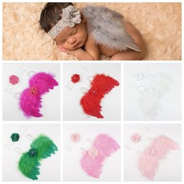 Yellow feather wings online shopping - New style Handmade lace headband and angel Feather wings toddler baby Photo props fashion decoration kid