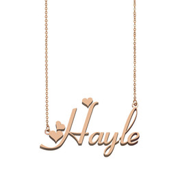 gold pendants children NZ - Hayle Name Necklace Pendant for Women Girlfriend Gifts Custom Nameplate Children Best Friends Jewelry 18k Gold Plated Stainless Steel