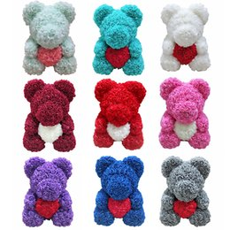 toys made sticks 2019 - Christmas Valentine's Day for Ladies gift 25cm 10 inches Rose bear toy 14 colors Flowers heart hugging bear C2351 c