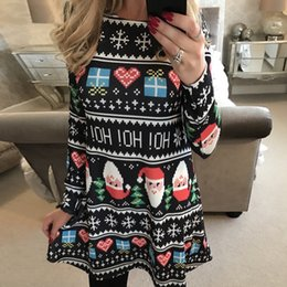 Winter Snow Suits Australia - Fairy2019 Suit-dress Christmas Dress Santa Claus Snow Mosaic Long Sleeve Printing Skirt Woman Autumn And Winter