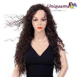 weaves for african hair 2019 - Factory Outlet Kinky Curly Hair Wigs Cheap Hair Wig Heat Resistant Fiber Synthetic Hair Curly Weave Cosplay Wig For Afri