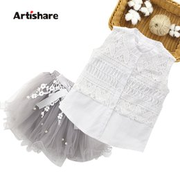 white dresses for girls casual Australia - Summer Lace Vest + Tutu Dress Teenage Clothing Casual Children's Costumes For Girls 6 8 10 12 Year Q190523