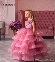 $enCountryForm.capitalKeyWord Australia - Low Cupcake Pageant Dresses for Girls Tiered Ruffles Sweep Train with Lace Appliques Bow Flower Girl Dresses