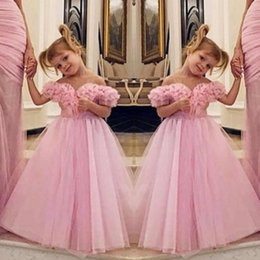Images for lovely baby online shopping - Lovely Pink Off Shoulder Flower Girl Dresses For Wedding Ruffles Tulle A Line Girls Pageant Gowns Floor Length Baby Birthday Party Dress