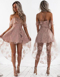Tulle dress juniors online shopping - 2019 Cute Pale Pink Short Homecoming Dress Vintage High Low Lace Juniors Sweet Graduation Cocktail Party Dress Plus Size Custom Made
