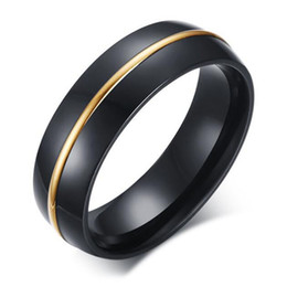 Mens Black Gold Engagement Rings Australia - 6MM Wide Mens Black Titanium Steel Wedding Band Ring Gold Line Smooth Finished Anniversary Gift