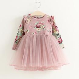a1668402f2a5 Girls Dress 2019 Spring New Korean Print Long-sleeved princess dress Mesh  fluffy Christmas dress Kids Clothes
