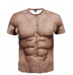 Funny Cool T-Shirt Men Women 3D Fake Abs & Muscle Man Full Print Size on Sale