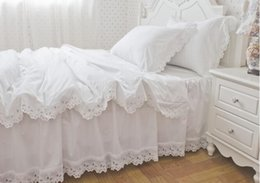 $enCountryForm.capitalKeyWord NZ - Luxury Snow White Hollowing out bedspread princess bedding sets queen king size 4pcs Ruffles duvet cover bed skirt bedclothes cotton