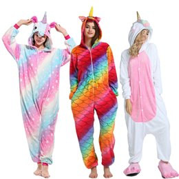 1800fdfbec2d Kigurumi Unicorn Pajamas Women Winter Animal Cartoon Stitch Sleepwear onesie  Sets Men Unisex Adult Flannel Pijama Hooded pyjamas