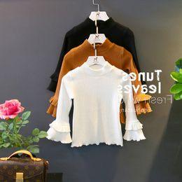 $enCountryForm.capitalKeyWord NZ - Autumn winter girls t shirt kids turtleneck long sleeve solid casual t-shirt baby pit white black khaki 3-8 years old children