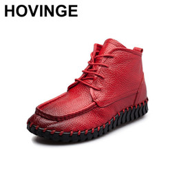 rubber outsole shoes 2019 - HOVINGE Antumn Winter Women Boots Vintage Genuine Leather Soft Outsole Flat Shoes Handmade Full Grain Leather Ankle Boot