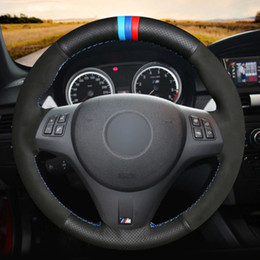 $enCountryForm.capitalKeyWord NZ - Black Natural Leather Black Suede Light Blue Blue Red Marker Car Steering Wheel Cover for BMW M3 2009-2013 E92