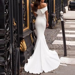 $enCountryForm.capitalKeyWord Australia - Modest White Mermaid Bridesmaid Dresses Off The Shoulder Cheap Country Maid Of Honor Gowns Sweep Train Wedding Guest Dress